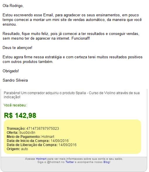 Depoimento Sandro Vieira vendedor oculto